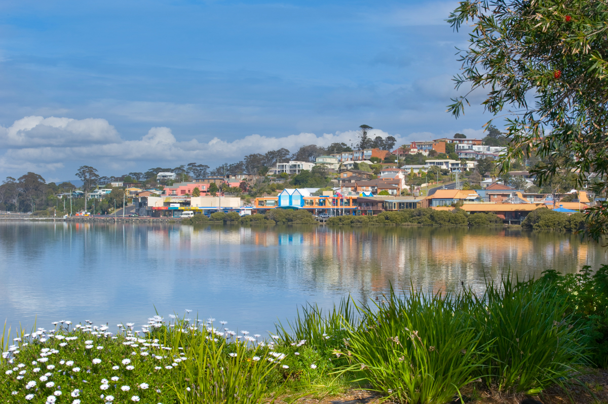 Picturesque view of the township of Merimbula on the Sapphire Coast.
